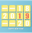 happy new year 2019 decoration on blue background vector image