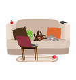 happy pets relaxing on couch and watching tv vector image vector image