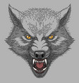 head of angry wolf vector image vector image