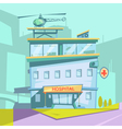 Hospital Building Retro Cartoon vector image