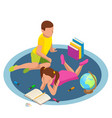 isometric featuring kids reading books concept vector image vector image