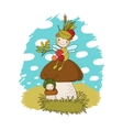 Little cartoon fairy sitting on a mushroom vector image