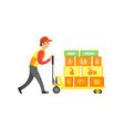 loader worker in supermarket with boxes vector image