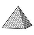 louvre pyramid icon outline style vector image