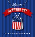 memorial day card with soldiers dog tags vector image vector image