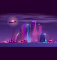 neon megapolis background with buildings vector image vector image