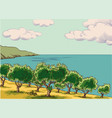 olive grove vector image vector image