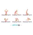 Paddle board yoga set vector image vector image