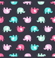 pattern with pink and blue elephants vector image
