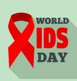 red ribbon aids logo set flat style vector image vector image