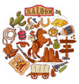 round composition with wild west elements wild vector image vector image