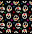 seamless pattern with mexican sugar skulls design vector image vector image