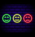 set neon smile emoticons isolated on dark vector image