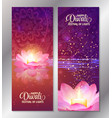 set of two happy diwali vertical banners with vector image vector image