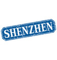 shenzhen blue square grunge retro style sign vector image vector image