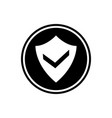 shield and check mark round glyph icon user vector image vector image