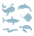 silhouettes sea creatures vector image vector image