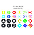 social media icon set snapchat facebook twitter vector image vector image