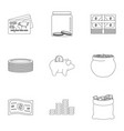 sponsor support icons set outline style vector image vector image