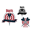 Sport game emblem with darts and board vector image vector image
