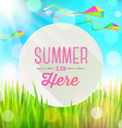 Summer greeting round banner and kites vector image