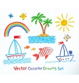 summer seaside set vector image vector image