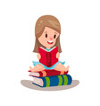 sweet girl reading a book sitting on a pile of vector image vector image