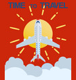 time to travel and flight booking retro poster vector image