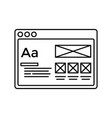 wireframe in window lined icon website page line vector image