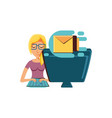 woman with desktop computer and envelope mail vector image vector image