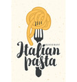 banner with italian pasta on fork vector image