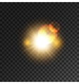Gold star light flash with lens flare effect vector image