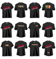6 Rock T-shirts set front and back side vector image