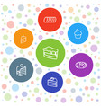 7 cake icons vector image vector image