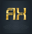 ax - initials or golden logo a and x - metallic vector image vector image