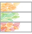 banners with green and orange leaves vector image