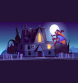 beautiful witch flying on broom near haunted house vector image vector image