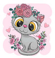 cartoon british kitten with flowers on a white vector image vector image