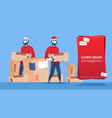 courier robots carry box delivery package post vector image vector image