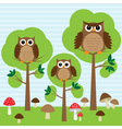 cute family of owls in forest vector image vector image