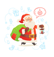 Cute Santa Claus with sack isolated on background vector image vector image