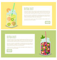 detox diet set of web pages posters drink in jars vector image vector image