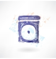 disk in the box grunge icon vector image
