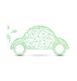 eco friendly car and leaves ecology concept vector image vector image