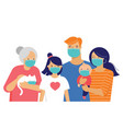 family mother father baand a girl wearing vector image