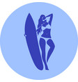 fashion girl surfer in the beach vector image vector image