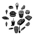 fast food icons set vector image vector image