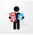 figure man holds symbol house and apartment vector image