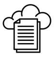 files and cloud storage icon outline style vector image vector image