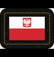 flag of poland with eagle icon on black leather vector image